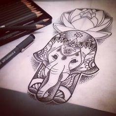 Tattoo hamsa elephant on pinterest lotus flowers for Hamsa elephant tattoo
