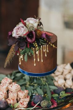Chocolate Cake With Gold Drip Icing by The Confetti Cakery - Secret Garden Wedding Inspiration From Stapleford Park With Styling