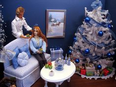 Blue Christmas OOAK 1:6 Living Room by Abigail's Joy | Flickr - Photo Sharing!