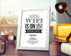 WIFI Password Printable, Wifi Password Sign, internet sign, WIFI Is On The House Sign, Guest Room Sign, PDF Instant Download #BPB193