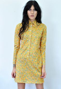 Vintage Orange Patterned 70s Dress | Bang Bang