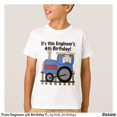 Shop Train Engineer Birthday Tshirts and Gifts created by kids_birthdays. Fourth Birthday, Special Birthday, Baby Birthday, Birthday Celebration, Birthday Supplies, Engineering, Birthdays, Train, Tote Bags