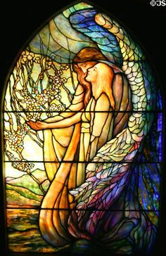 Stained glass window (c1890) of Guiding Angel by Tiffany Studios at Stained Glass Museum. Chicago, IL