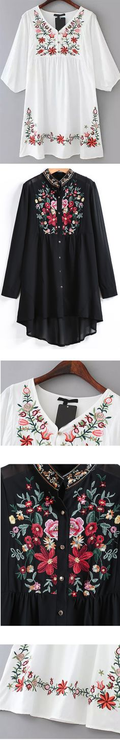 For Summer/Spring.Floral Embroidered Print. Vintage Style.It's so comfy and cute,Can't wait to get them? Check SheIn.com Now