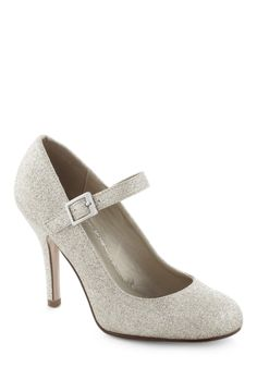 Yes I Candescent Heel in Silver. Nothing can shake your positive visions of tonights soiree when youre in these silver glitter Mary Jane heels!