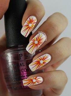 Vicky Loves Nails: Tri Polish Challenge - Red, Yellow and Orange. Starburst Nails!