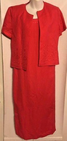 NWT $90 Jessica Howard Size 8P Dress Jacket Coral Linen Blend W/Embroidery  #JessicaHoward #Jacket #Dress