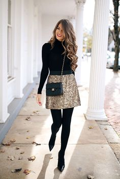 """25 Outfit Ideas For Every Girl's Holiday Style: Fashion blogger 'Southern Curls & Pearls"""" wearing a black turtleneck top, a sequin mini skirt, black tights, black patent heels and a chain strap bag. holiday outfit, holiday look, christmas outfit, new years eve outfit, fashion 2018, party outfit, #holidaystyle #partystyle #holidayoutfit #fbloggerstyle #bloggerstyle #fashionpost #holidays"""