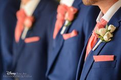 Walt Disney World groomsmen in navy with pops of coral