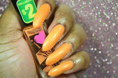 "Sally Hansen I ♥ Nail Art ""For Sher-Bert"" Sally Hansen, Stiletto Nails, My Nails, Swatch, Double Team, Nail Art, Orange, Manicures, Nail Salons"