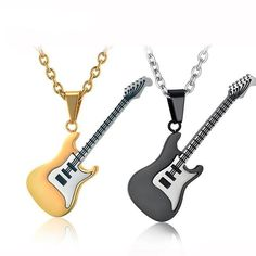 Guitar Pendant Necklace - Mr Peachy Rock Chic, Style Rock, Gold Jewelry, Jewelry Accessories, Women Jewelry, Jewellery, Punk Rock, Hip Hop, Gold Chain With Pendant