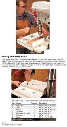 Sliding Drill Press Table