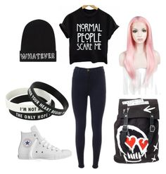 """Cute outfit"" by holly32196 ❤ liked on Polyvore featuring J Brand, Converse, Local Heroes and Hot Topic"
