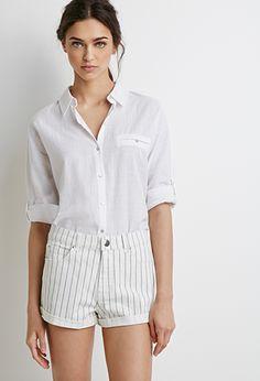 Striped Denim Shorts | Forever 21 - 2002246650