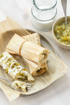 Homemade Tamales with Roasted Poblano and Cheese Filling