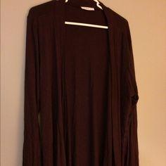 Purple / wine flyaway cardi Super soft purple flyaway open cardigan. Boutique purchase. Gorgeous color Sweaters Cardigans