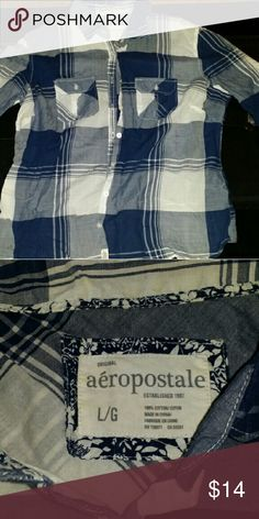 Blue and white plade long sleeve shirt thin Good condition button down blue and white large Aeropostale Tops Tees - Long Sleeve