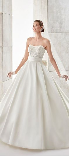 Gorgeous Satin Strapless Neckline A-Line Wedding Dresses With Embroidery & Beadings