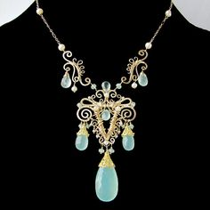 14 karat gold filled statement necklace with sea by NoriaJewelry, $996.00