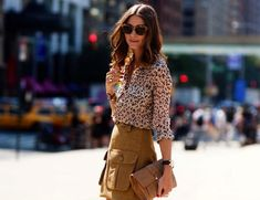 A leopard printed anything can make a casual look go from mild to wild, but turn it around and you'll find that casually styling t. Leopard Shirt, Leopard Dress, Fashion Moda, Star Fashion, Olivia Palermo Street Style, Dress Skirt, Lace Skirt, White Skirts, Casual Looks
