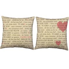 I Love You Languages Throw Pillows - Perfect for an international themed room for the traveler.