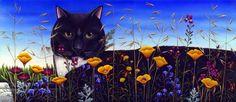Cat in Flower Field - Carol Wilson