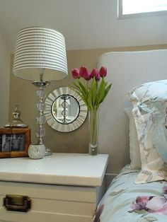 Mirror on plate charger--so easy!  Like the lamp base for my beachy decor one day.