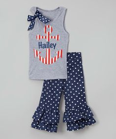 Another great find on #zulily! Gray Personalized Tank & Navy Pants - Infant, Toddler & Girls by Beary Basics #zulilyfinds