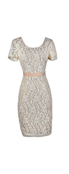 Kate Contrast Pattern Lace Pinup Fitted Dress in Beige/Ivory  www.lilyboutique.com