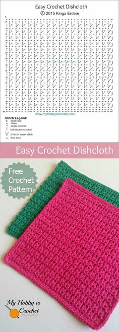 Ideas for knitting stitches free crochet dishcloths Crochet Diagram, Crochet Chart, Crochet Motif, Diy Crochet, Crochet Ideas, Crochet Stitches Patterns, Knitting Stitches, Knitting Patterns, Knitting Charts