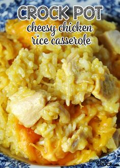This Crock Pot Cheesy Chicken Rice Casserole is comfort food at its best! I think I will also add broccoli or mixed veggies to this.