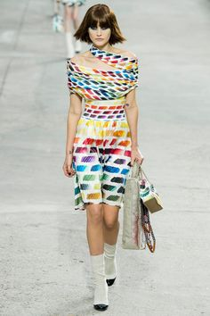 Chanel Spring 2014 Ready-to-Wear Collection Catherine McNeil colorful dress paint palette