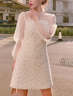Mini Lace Dress Available color: white Tweed dress Long sleeves dress Combination form: single piece Collar type: Standing collar Waist type: high waist Asian Fashion, Girl Fashion, Womens Fashion, Fashion Design, Dress Outfits, Casual Dresses, Fashion Dresses, Tweed Dress, Lace Dress