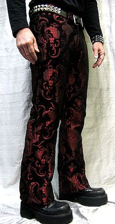 ROCKER JEANS - RED BROCADE Shrine Clothing Goth Steampunk Mens Jackets Jeans Pants Trousers