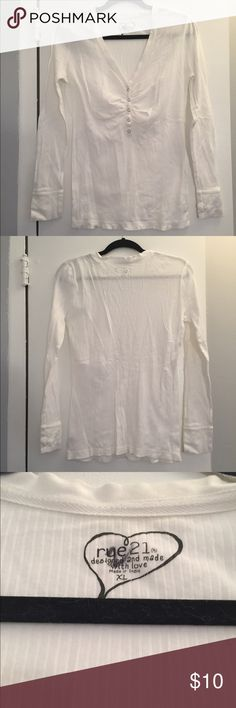 NEW Rue 21 White Cotton Henley XL Basic white Henley Top from Rue 21, chest is 23 inches (46 all around) with stretch, top is 27 1/2 inches long from shoulder to bottom hem. Perfect condition Rue 21 Tops Tees - Long Sleeve