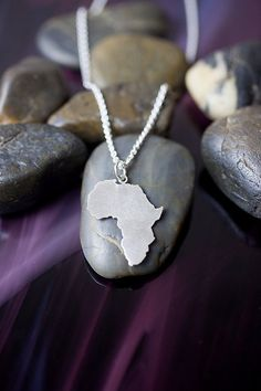 SALE - Africa Necklace - Africa Outline - Nation - Continent - Adoption Jewelry - State Jewelry - Missionary - Military