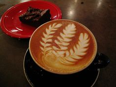 Latte Art and brownies