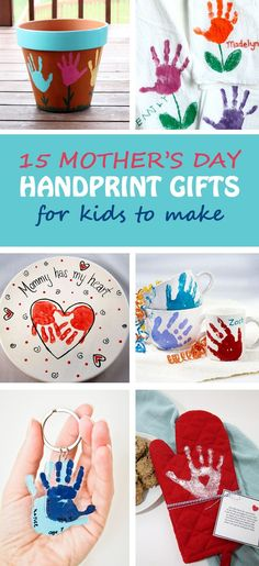 15 Mother's Day handprint gifts for kids to make for moms and grandmothers. Easy Mother's Day crafts for toddlers, preschoolers and kindergartners. Handprint keepsake: flower pot, tulip towel, platter, mugs, keychain, oven mitt, apron, potholder, tote bags, mason jar vase, photo frame, canvas | at Non-Toy Gifts