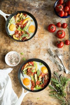 Baked duck eggs with fresh tomato sauce & summer veg.Bea's cookbook-food photography & styling.