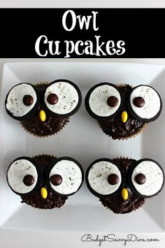 Budget Savvy Diva has some friendly looking owl cupcakes. Owls have been trending a lot, so why should Halloween be any exception? Don't worry, these cupcakes are surprisingly easy to make! Halloween Desserts, Halloween Treats, Easy Halloween, Halloween Cupcakes, Halloween Party, Just Desserts, Delicious Desserts, Yummy Food, Owl Desserts