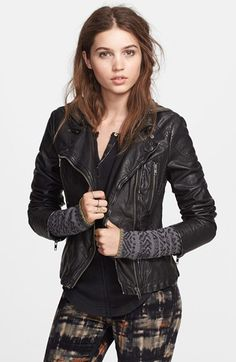 Free People Hooded Faux Leather Moto Jacket available at #Nordstrom