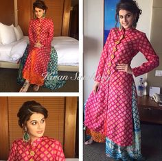 Taapsee wore a Swati Vijaivargie outfit and earrings from Apala by Sumit for her movie promotions today.She kept her makeup natura. Indian Attire, Indian Ethnic Wear, Indian Style, Pakistani Outfits, Indian Outfits, Ethnic Outfits, Indian Dresses, Ethnic Fashion, Indian Fashion