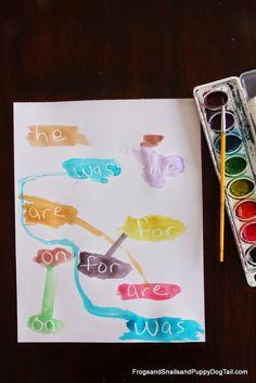 Invisible Sight Word Watercolor Paintings - Use for Arabic sight words Teaching Sight Words, Sight Word Practice, Sight Word Games, Sight Word Activities, Literacy Activities, Preschool Centers, Teaching Resources, Kindergarten Language Arts, Kindergarten Literacy