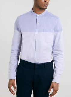 Blue Stand Collar Long Sleeve Shirt - Men's Shirts - Clothing