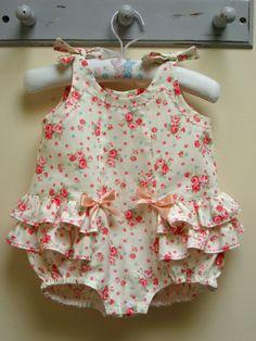 Baby's romper sewing pattern Rose Bud Romper pdf pattern