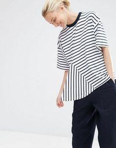 ASOS WHITE Cut Away Stripe T-Shirt