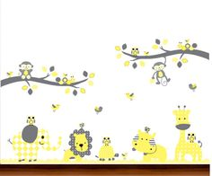 Yellow and Gray Modern Baby Nursery Jungle Dot by WhimsyWallArt
