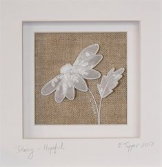 Antique Linen Stumpwork Daisy: 'Hopeful' - Hand Embroidered Art by The Art of the Needle