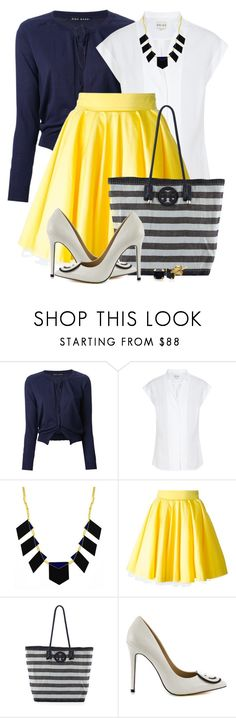 """""""Yellow, White & Navy"""" by brendariley-1 ❤ liked on Polyvore featuring Aida Barni, Reiss, House of Harlow 1960, Philipp Plein, Tory Burch and TaylorSays"""