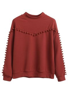 Burgundy Pompom Detail Drop Shoulder Sweatshirt buy online store in Europe. Alternative Mode, Alternative Fashion, Plus Size Womens Clothing, Clothes For Women, Hijab Fashion, Fashion Outfits, Sweat Shirt, Girl Outfits, Cute Outfits